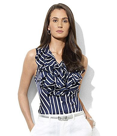 Lauren by Ralph Lauren Valencie Silk Ruffle Top