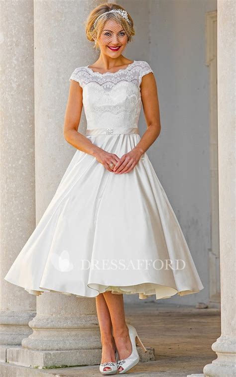Bateau Cap sleeve Satin A line Tea length Wedding Dress