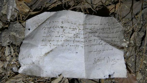 1633 letter found in the South Barracks of Knole House