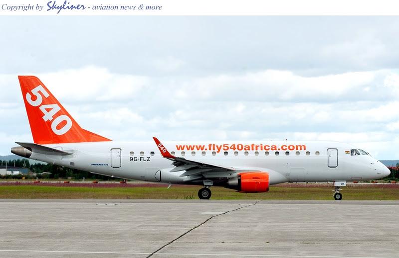 Fly540 Ghana Embraer ERJ-170 Jet (9G-FLZ)