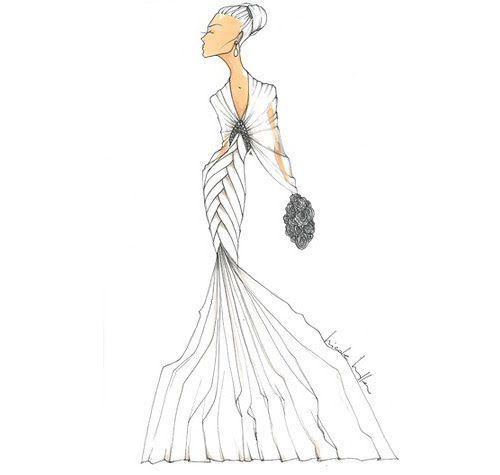 Wedding Dress Sketches - by Nicole Miller for Kate Middleton