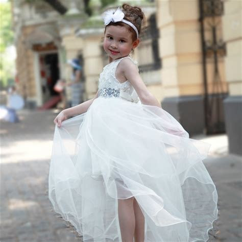 2018 White Formal Girl Dress Long Back Kids Wedding