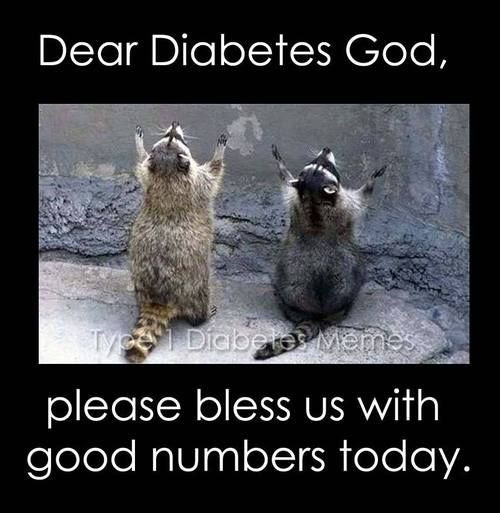 Dear Diabetes God, please bless us with good numbers today., Diabetes Inspirational quote