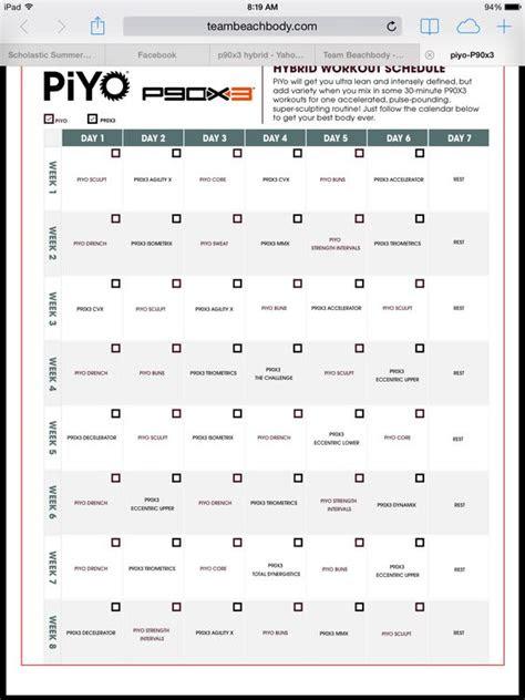 piyopx hybrid piyo pinterest workout schedule