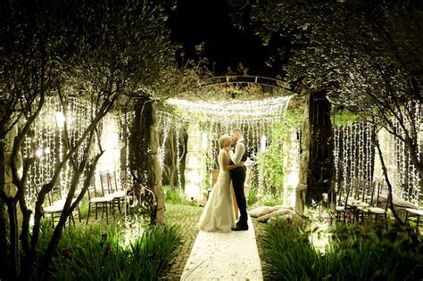 Mesmerizing, Twinkling Outdoor Night Wedding Ceremony