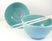 BACK IN STOCK Two Aquamarine Blue Pottery Noodle Bowls  / Stoneware Rice Bowls with Chopsticks - great couples gift - BlueSkyPotteryCO