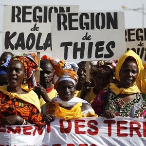 Manifestação no primeiro dia do Fórum Social Mundial do ano passado, que aconteceu em Dacar (Senegal)