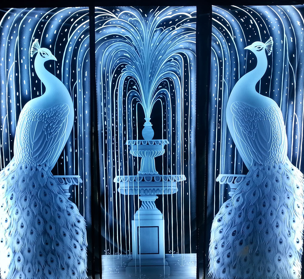 Stunning New Etched Glass Peacocks Displayed.