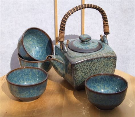 Contemporary Japanese tea set in speckled blue glaze with