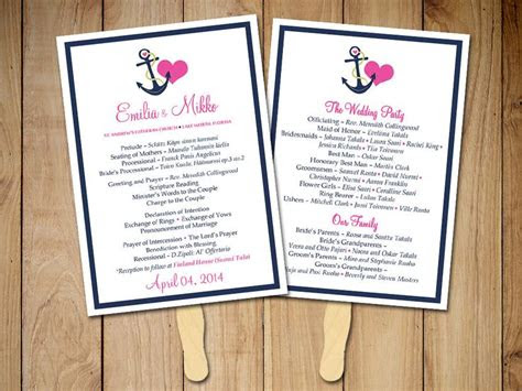 beach wedding fan program template nautical ceremony