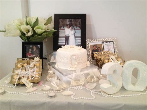 Pearl Wedding Anniversary   like the table decor!! can get