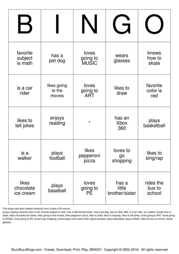 HUMAN BINGO Bingo Cards to Download, Print and Customize!