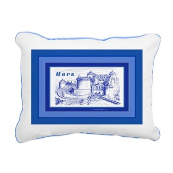 HERS Blue Castle Rectangular Canvas Pillow