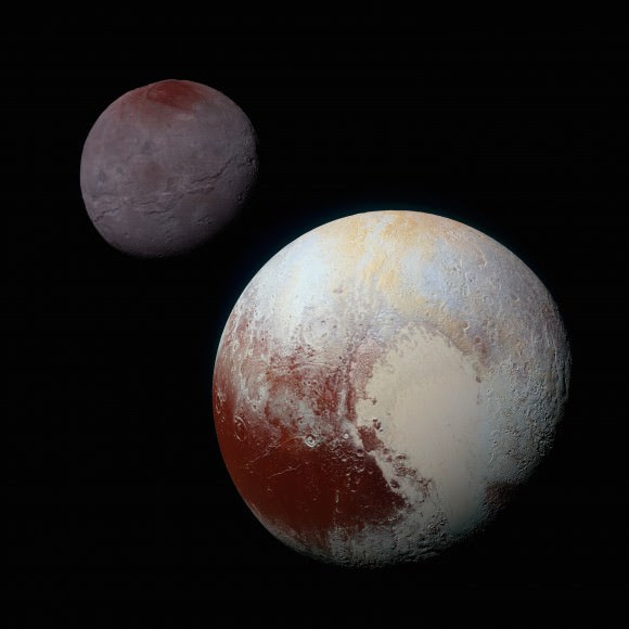 Pluto and Charon are tidally locked to each other. Credit: NASA/JHUAPL/SwRI