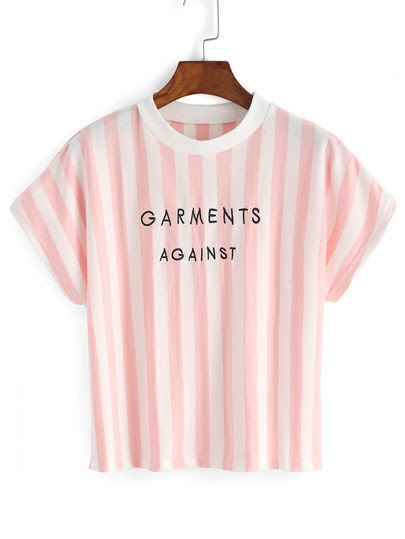Vertical Stripe Letter Embroidery T-shirt pictures
