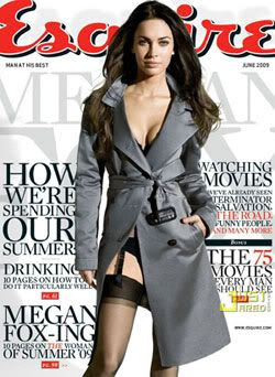 Megan Fox on the cover of ESQUIRE magazine.