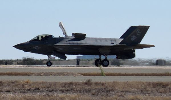 The F-35B Lightning II vertically lands on the ground...completing its demo at the Miramar Air Show on September 29, 2018.