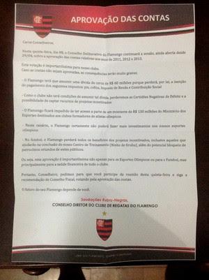 Carta do Flamengo aos sócios (Foto: Reprodução)