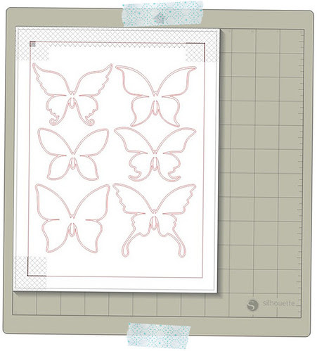 paper pieced butterflies BLANK PRINT & CUT WITH PRINTER'S BLEED READY TO FILL WITH PATTERN in silhouette studio