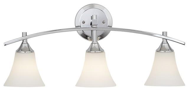 "Curve Etched White Glass 3-Light 24"" Wide Chrome Bath Light"