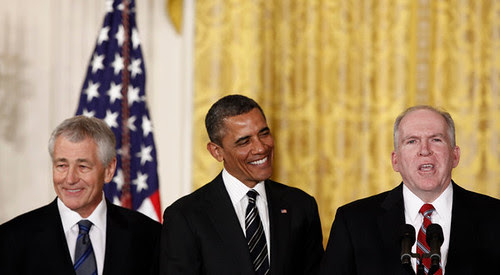 Barack Obama and his warmongers, Chuch Hagel and John Brennan. Hagel will head the Pentagon and Brennan the Central Intelligence Agency (CIA). There will more imperialist wars to come. by Pan-African News Wire File Photos