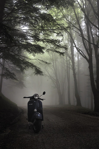 Cold morning in Spring with a Vespa
