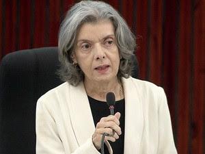 A presidente do STF, ministra Cármen Lúcia durante palestra em Brasília (Foto: Reprodução/TV Globo)