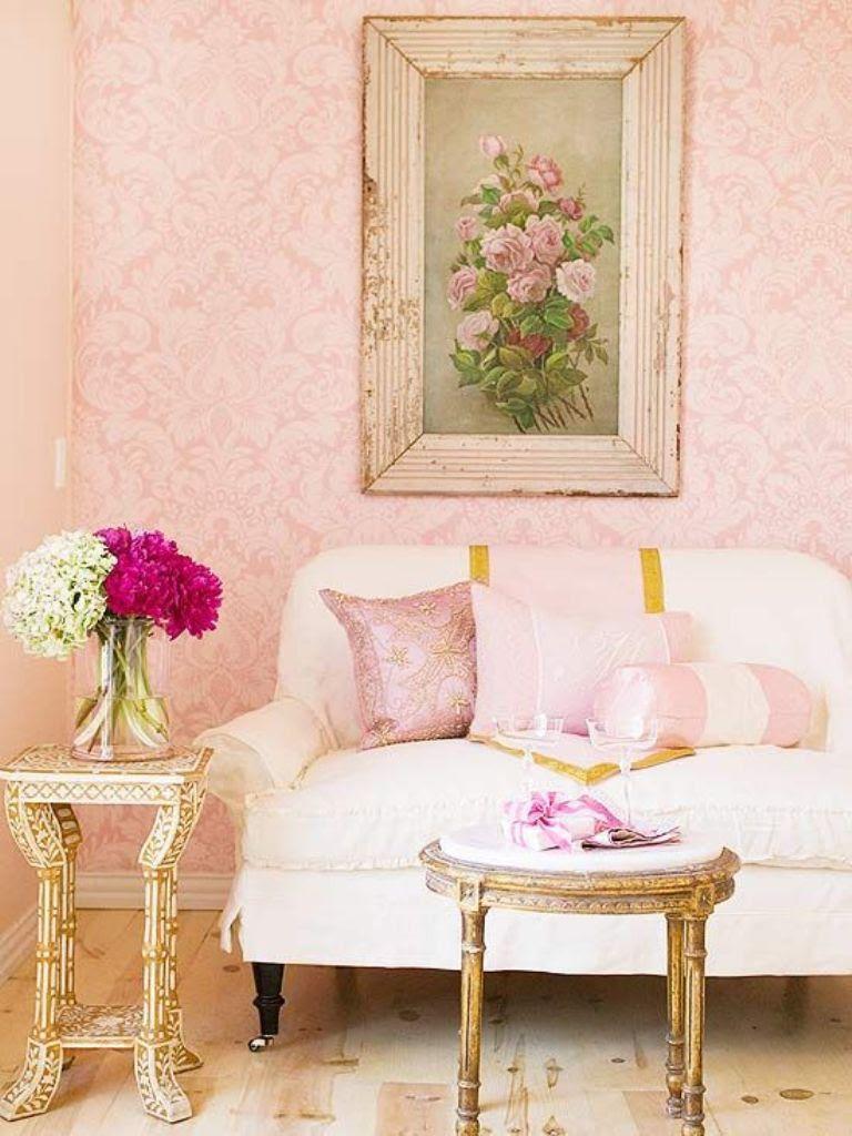 living room shabby chic wallpaper