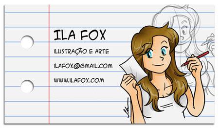 cartão de visita ilustrador desenhista artes, dicas para ilustradores, ila fox