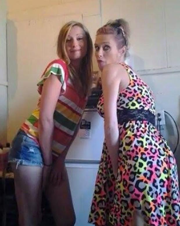 Americana foi identificada após postar fotos nos Facebook usando o vestido que havia roubado horas antes (Foto: Reprodução/Facebook/Danielle Saxton )