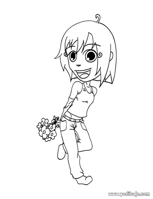 Dibujos Para Colorear Hija Feliz Con Flores Eshellokidscom