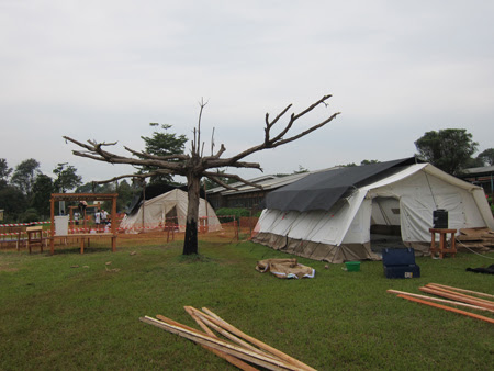 A temporary hospital under construction in Africa