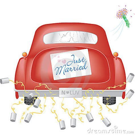 Red Car W/ Just Married Sign Royalty Free Stock Image