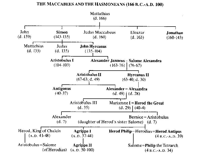 Risultati immagini per genealogical tree of hasmonean