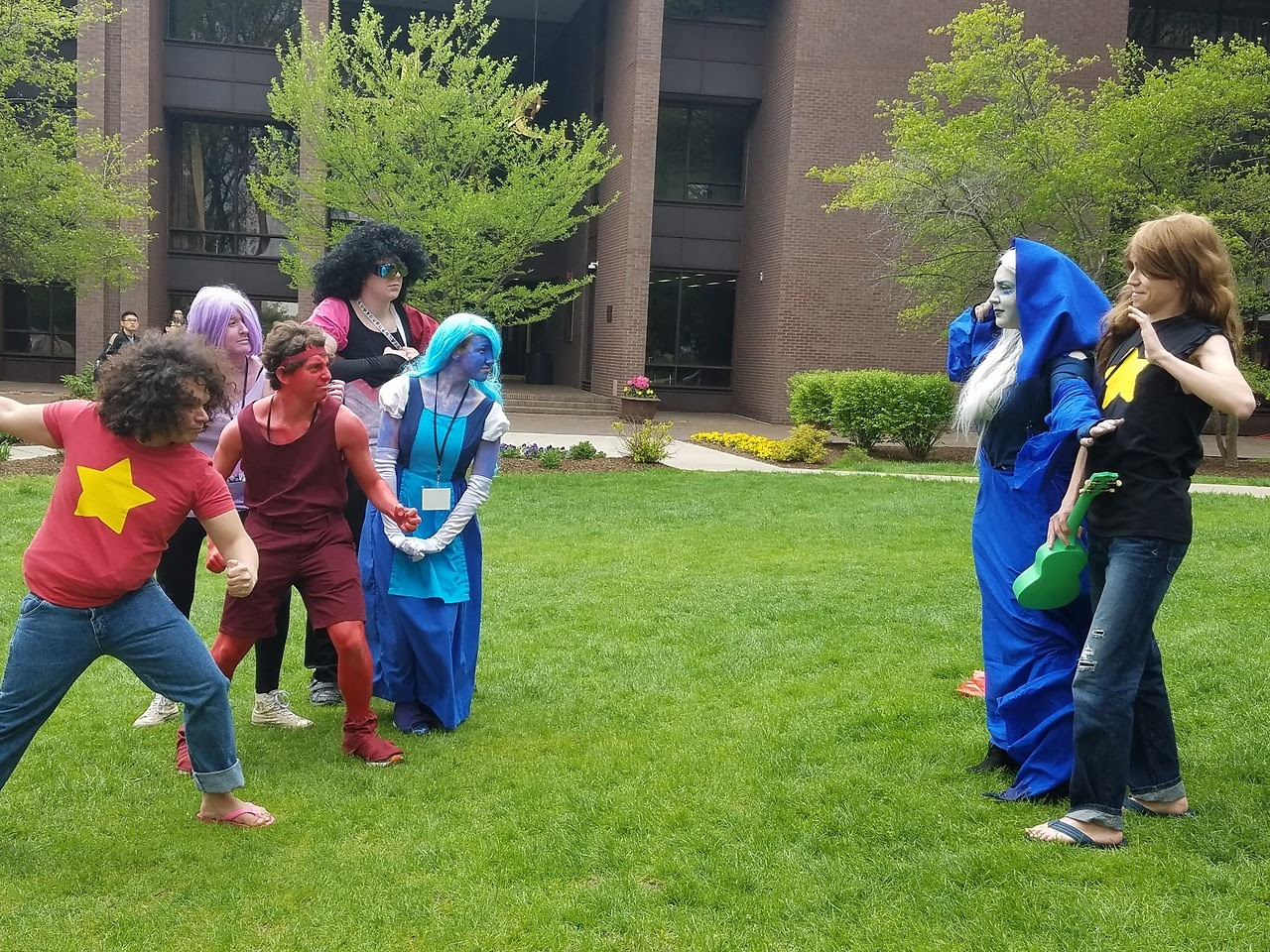 Steven Universe Photoshoot at Castle Point Anime Convention at Stevens Institute of Technology, aka Steven Univers-ity Lemme know if you're one of these cosplayers! I was the Greg without glasses Greg...