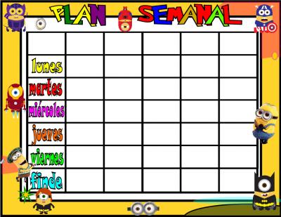 planificador semanal 5 tareas