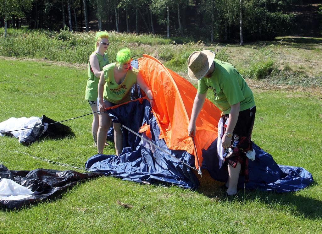 Raising a tent