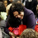 Justice Sonia Sotomayor hugged Tabbie Major, 7, at a question-and-answer session in Chicago.