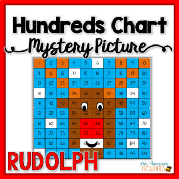 Rudolph Christmas Hundreds Chart Mystery Picture