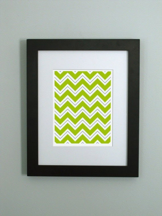 Green Chevron Pattern Art Print - Modern Wall Decor - 5 x 7