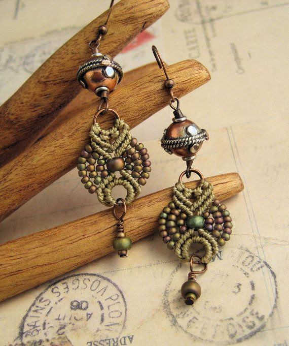 Beaded Macrame Earrings Long Dangles in Matte by KnotJustMacrame