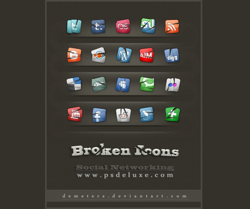 Free Creative Social Networking Broken Icons Pack
