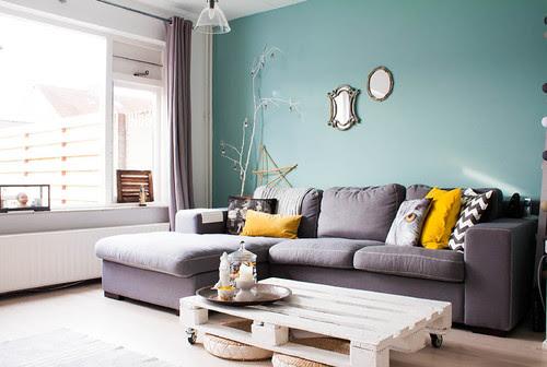 almofadas - combinação do amarelo com o turquesa