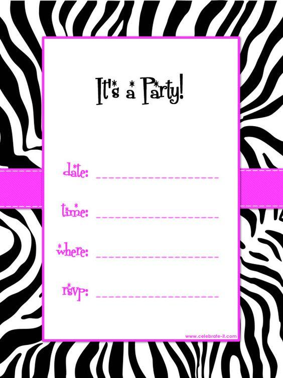 free printable zebra print baby shower invites | Black, White and ...