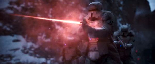 Standing atop the Conveyex, Stormtroopers open fire in SOLO: A STAR WARS STORY.