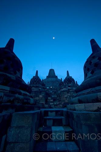 Indonesia - Borobudur Moon Over the Main Stupa