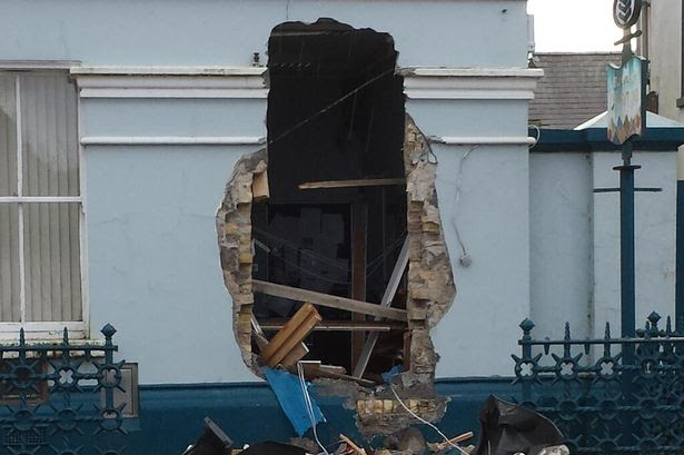 The hole left by the thieves in Sligo after they stole an ATM