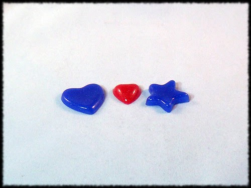 glittery resin stars and hearts