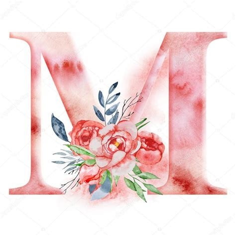 Floral watercolor alphabet. Monogram initial letter M