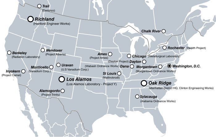 Map of the United States and southern Canada with major project sites marked